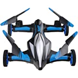 Lcyyo@ JJRC H23 Flying & Car Headless Mode 2.4GHz 4CH 6-Axis RC Drone Quadcopter with Dual-mode Air-Ground & LED Lights & 360°Rolling Action (Blue)