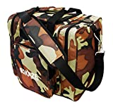 KAZE SPORTS Deluxe 1 Ball Bowling Tote Bag with Two Side Pockets, Camouflage