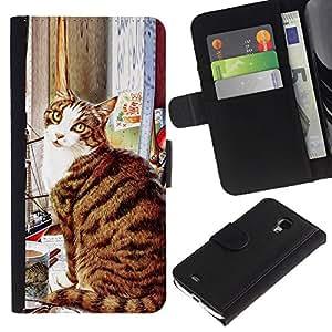 Be Good Phone Accessory // Caso del tirón Billetera de Cuero Titular de la tarjeta Carcasa Funda de Protección para Samsung Galaxy S4 Mini i9190 MINI VERSION! // American Shorthair Ca