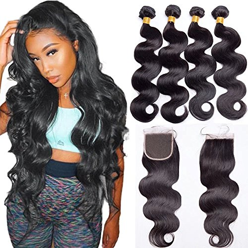 Maxine Brazilian Remy Hair 3 Bundles with Closure 9a Unprocessed Human Hair Bundles with Closure Free Part Natural Black Brazilian Body Wave with Closure (10 12 14+10 inch 4x4 closure)
