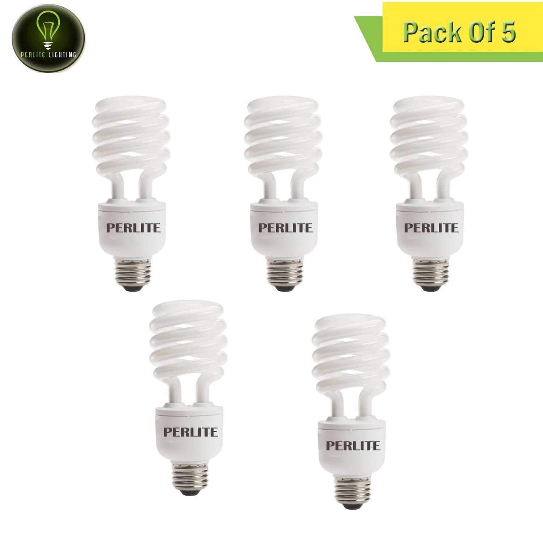 Perlite Lighting (Pack of 5) CF23C/WW/DM 23-Watt T3 COIL CFL Energy Wiser Dimmable 2700k Medium E26 Base 120-Volt Light Bulb