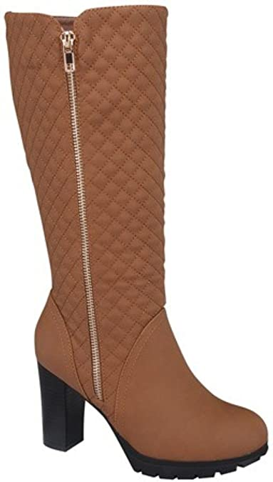 Women's Cowboy Military Riding Diamond Shape Quilted Mid Calf Zip Chunky Heel Boot Shoes