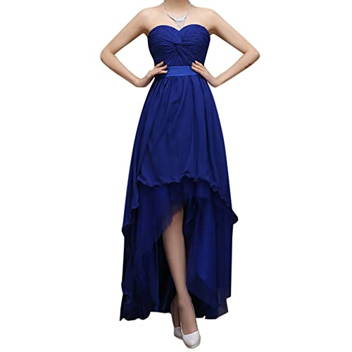 Bess Bridal Womens High Low Lace Up Chiffon Prom Bridesmaid Party Dresses US8 Royal Blue