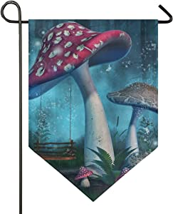 Double Sided Yard Outdoor Indoor Home Fantasy Mushroom Forest Garden Flag Banner