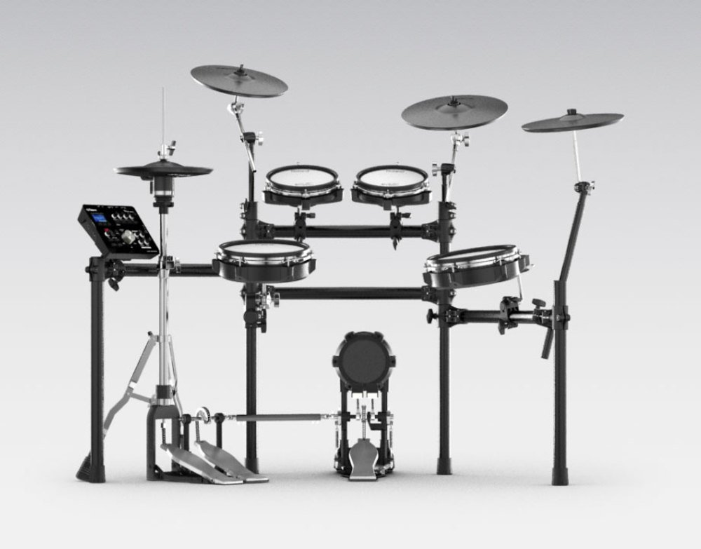 Roland High-performance, Mid-level Electronic V-Drum Set (TD-25KV) with 10'' snare pad, 8'' tom pad (x2) and 10'' tom pad (x1), 12'' crash v-cymbal (x2), KD-9 kick pad, and MDS-9SC stand by Roland