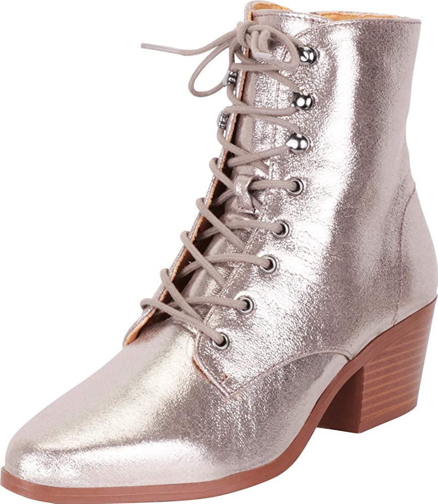 Pewter Metallic Cambridge Select Women's Pointed Toe Victorian Steampunk Lace-Up Block Heel Ankle Bootie