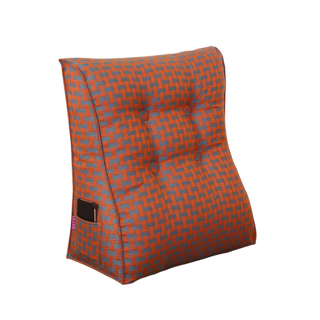 DUHUI Dreieck Kissen Bett Kopfstütze Kissen Hals Größe Bett Rückenlehne Schlafzimmer Büro Größe Kissen Sofa Weiche Tatami Größe Kissen Abnehmbar Waschbar (Farbe   rot1, größe   45x50x25cm)