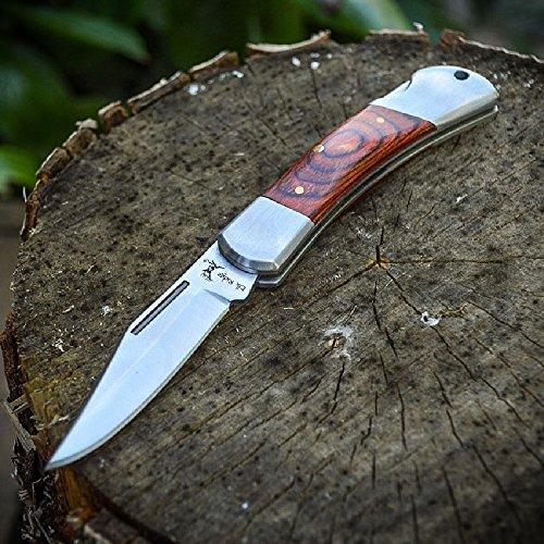 ELK RIDGE Wood Lockback FOLDING POCKET KNIFE Hunting Camping (Ontario Large Folder)