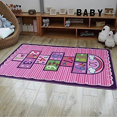 Amazon.com: Hopscotch Kids Rug Bedroom Pink Purple Girl Rug Children ...