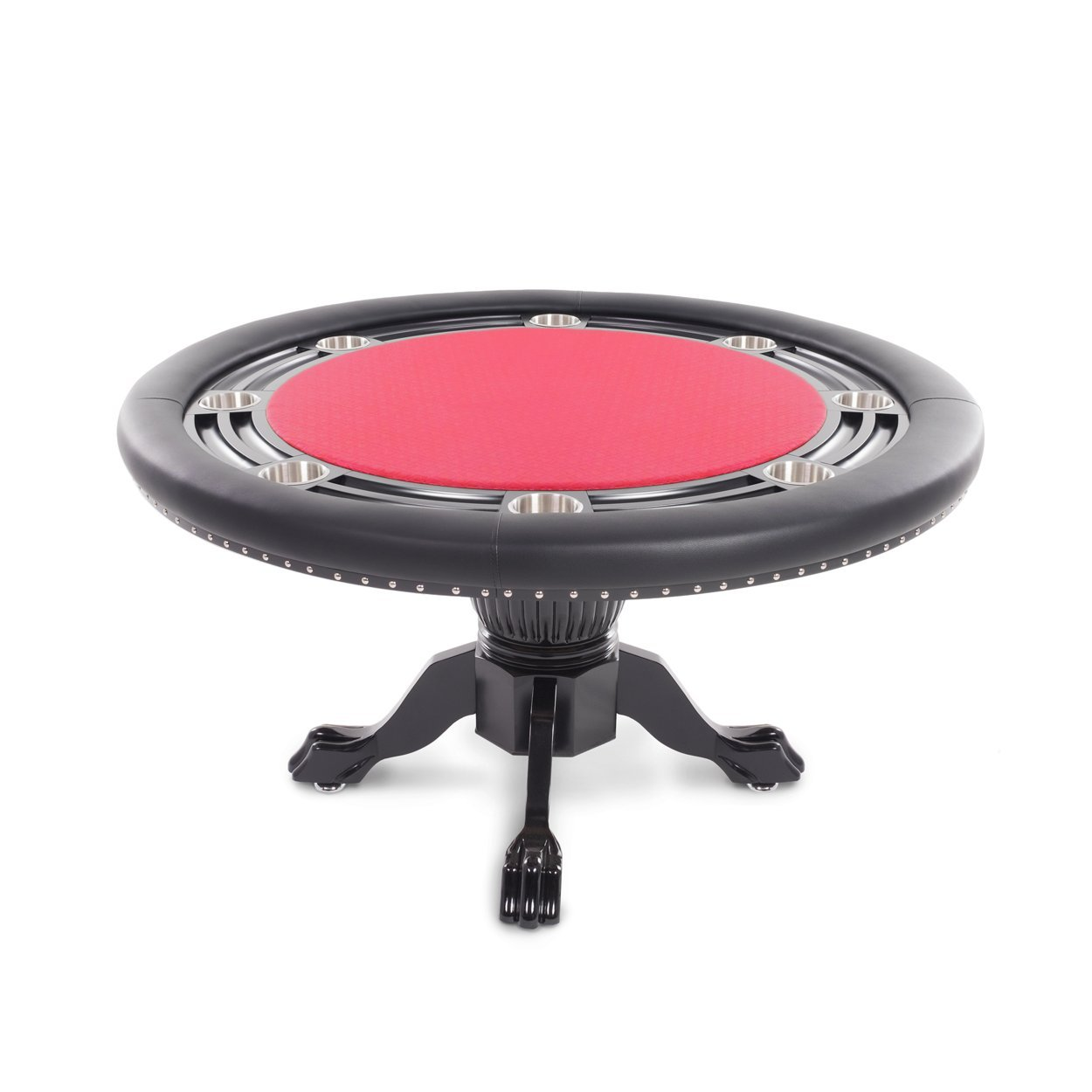 BBO Poker Nighthawk Poker Table for 8 Players with Red Speed Cloth Playing Surface, 55-Inch Round