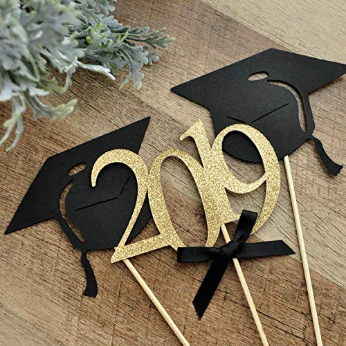 Graduation Party Decoration. Black and Gold Centerpiece for Graduation Party. (1 Single 2019 Stick and 2 Single Graduation Cap Sticks).]()