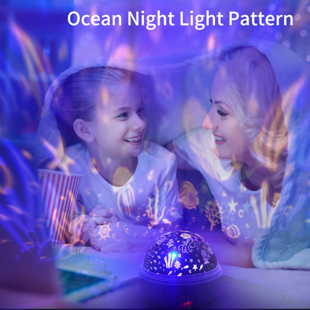 Night Light for Kids, Ifecco Baby Star Night Light Rotating Moon Stars Projector Adjustable Brightness & 8 Color USB Cable/Batteries Powered for Party, Bedroom (Blue)
