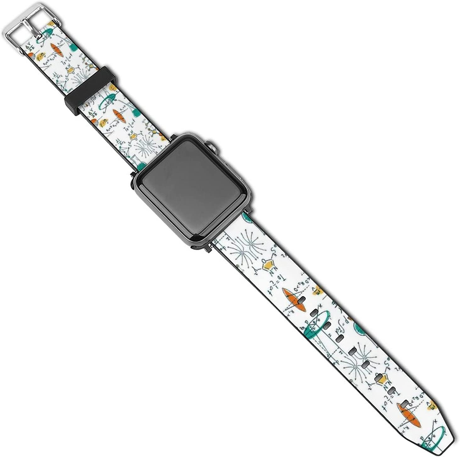 Compatible with Apple Watch Bands, Science Lab Objects Education Scientific Formulas Biology Chemistry White PU Sport Wristbands Replacement Strap with Classic Clasp for iWatch Series 5 4 3 2 1