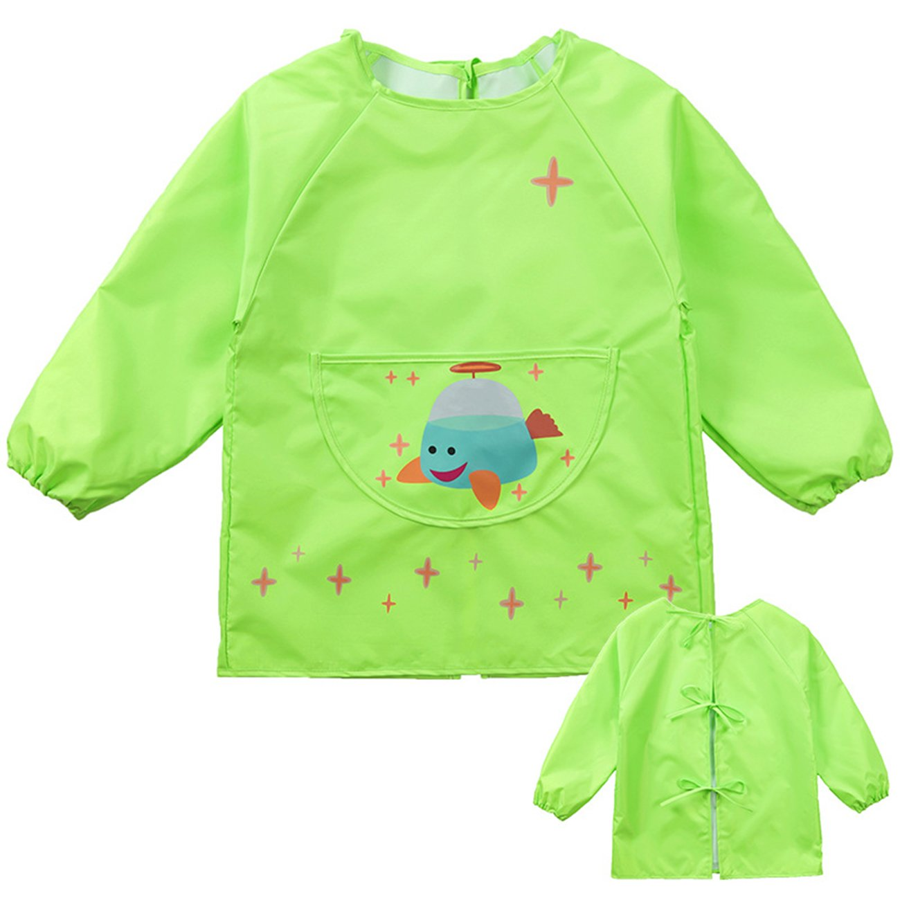 Lemonkid® Children's Waterproof Painting Clothing Fashion Cartoon Kids Protective Smock,Green1,S/Height:85-100cm/fit 2-4T