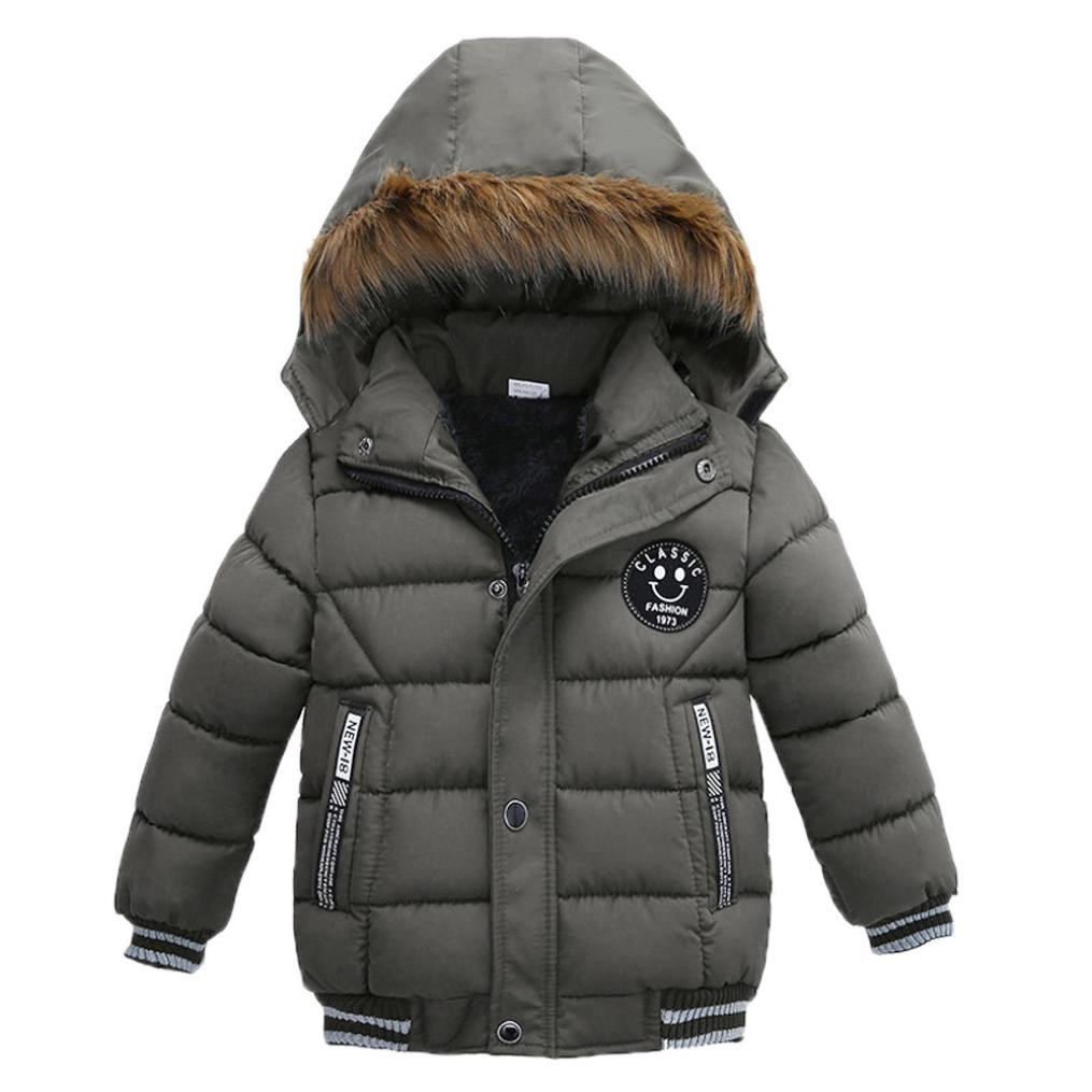 Kehen Kids Toddler Boy Girl Winter Fur Hooded Trench Coat Warm Down Jacket Thick Outerwear (Gray, 4T)