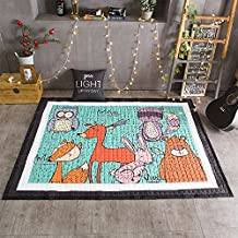 Super Cute Deer Pattern Children Play Exercise Mat-HIGOGOGO Cartoon Animals Play Mat for Kids and Toddlers, 57 by 77 inch Soft Cotton Kid Crawling Mat, Living Room Living Room Bedroom Mat Area Rug