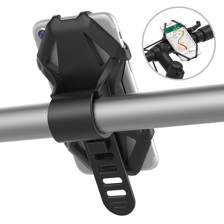 GVDV Soporte para Bicicletas, Universal Soporte para Móvil y GPS Compatible con 4 - 6 inches dispositivos, Rotación de 360 Grados, Silicona Completa, Negro y Amarillo