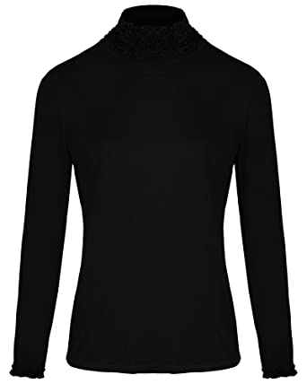 e4005fb945c8e3 Overdose® Ladies Womens Stretch Plain Jersey Polo Turtle Ruffle High Neck T Shirt  Jumper Long