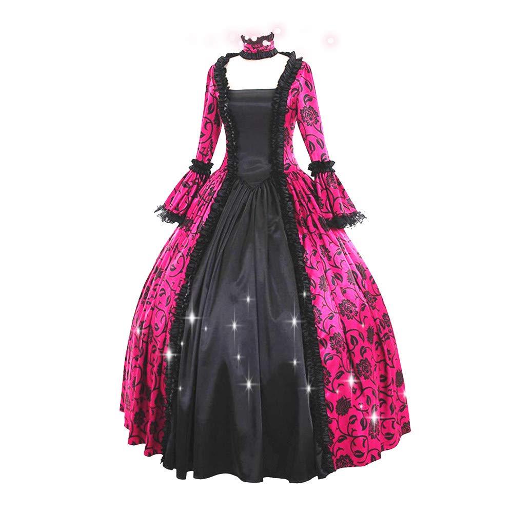 Womens Royal Retro Medieval Victorian Dress Floor Length Gown Cosplay Renaissance Dresses S-XXXXXL (XXL, Hot Pink) by sweetnice Women Dresses