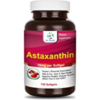 Astaxanthin 10mg 120 Softgels Powerful All Natural Antioxidant & Carotenoid High Purity Extra Strength Aids Eye, Brain, Joint, Skin, Heart Health & Anti-Aging (up to 4 Months Supply)