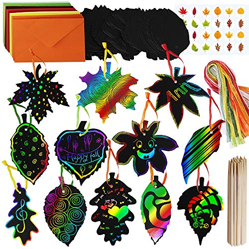 Bat Art Projects For Halloween (Supla 48 Sets Magic Color Scratch Fall Leaves Scratch Ornaments Fall Craft Supplies Scratch Art Paper in Assorted Maple Oak Leaves Cutouts Hang Tags for Kids Fall Autumn Halloween Thanksgiving)