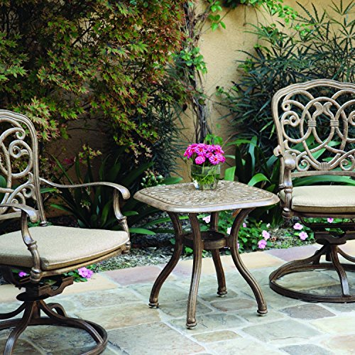 - Darlee Florence 3 Piece Cast Aluminum Patio Bistro Set With Swivel Rockers - Mocha