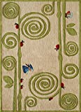 Momeni Rugs LMOJULMJ50IVY5070 Lil' Mo Whimsy Collection Kids Themed Hand Carved & Tufted Area Rug, 5′ x 7′, Ivory