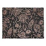 Boho Dreamcatcher Rose Gold Black Illustration Natural Rubber Doormat 16 by 24 Inch