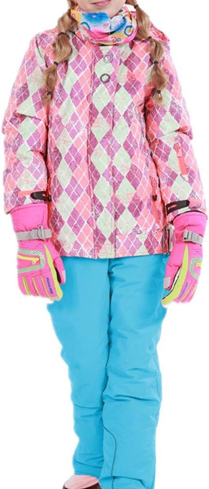 スキーウェア 女の子暖かい防風防水スノーシューズフード付きスキージャケットパンツ2個セット 耐性ジャケット (色 : 青, サイズ : 116/122)