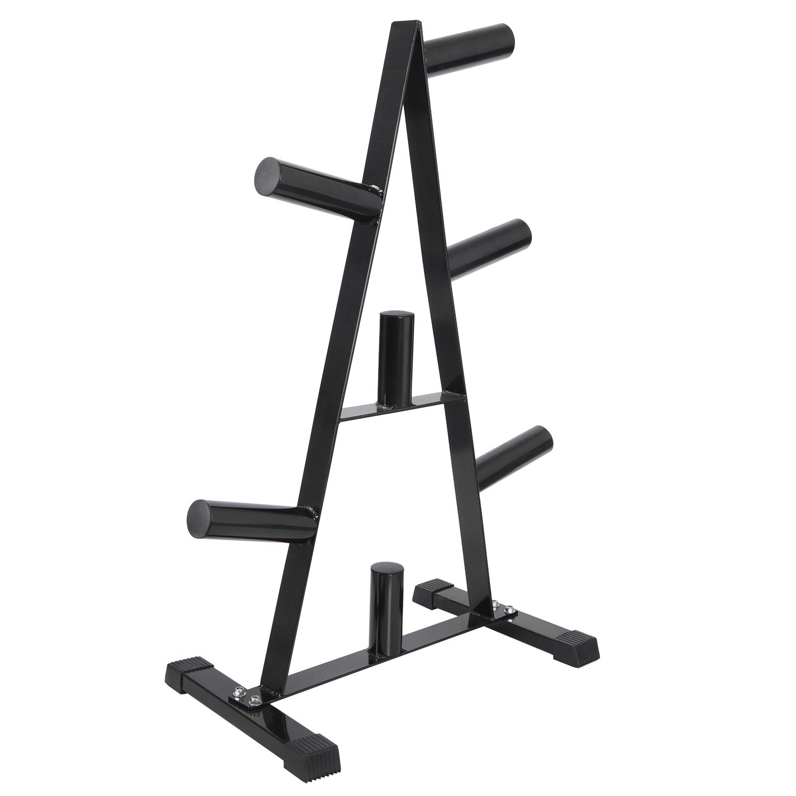 HomGarden 2-Inch Standard Barbell Plate Rack Gym Gear Dumbbell Racks Triangle Olympic Plate Tree Holder 500 lbs Weight Capacity