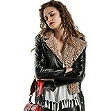 FANKE Women's PU Leather Jacket ,Long Sleeve ,Fashion,Slim fit,Autumn and Winter,Black (M)