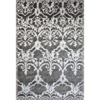 Gray Black Red White Modern Abstract Area Rugs Carpets New size options available (5x7, Nouv-7 Gray Damask)