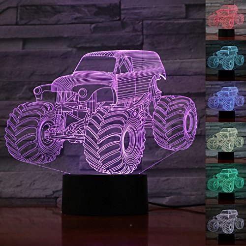 Price comparison product image 3D Illusion Lamp Night Light 7 Color Changing Touch Switch Table Desk Decoration Lamps Christmas Gift with Acrylic Flat & ABS Base & USB Cable Toy Gift (Monster truck)