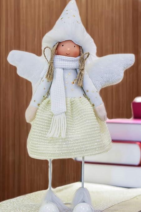 Valery Madelyn 42 Cm Decoración Navideña en Ángulo, Roja y Dorada Niña Angulosa con Sombrero Suave, Alas Blancas y Blancas y Un Cuerpo Movible Hacen ...