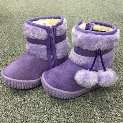 Tefamore zapatos bebe de antideslizante de sole suave de moda invierno de calentar algodón de bola (Tamaño: 21, Morado)
