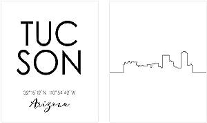 Tucson Skyline Wall Décor Prints - Set of 2 (8x10) Art Photos - Typography Minimalist Poster