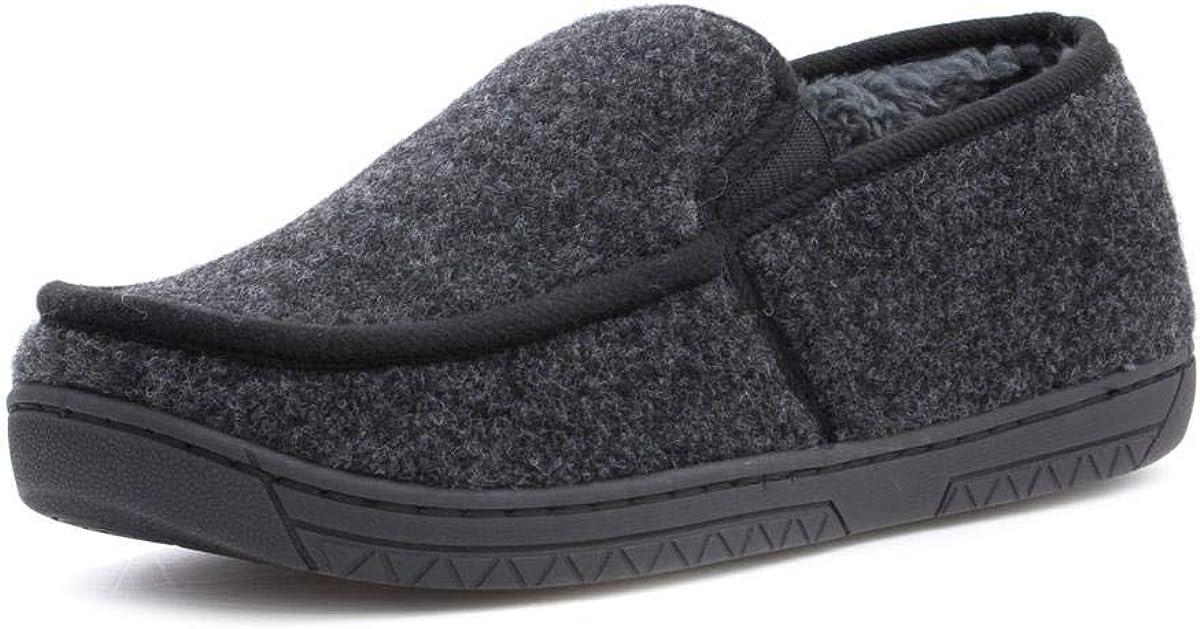 The Slipper Company Mens Grey Moccasin Slipper