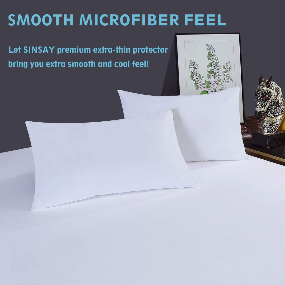 Hypoallergenic Vinyl Free Bed Cover Premium Breathable Mattress Cover Stretches up to 14 Inches SINSAY 2 Pack Twin Size 100/% Waterproof Mattress Protector