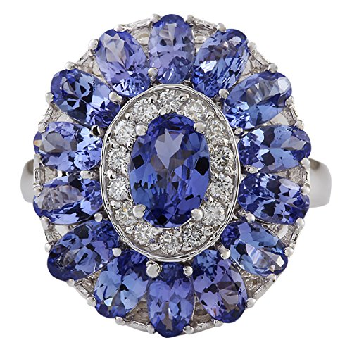 (4.77 Carat Natural Blue Tanzanite and Diamond (F-G Color, VS1-VS2 Clarity) 14K White Gold Cocktail Ring for Women Exclusively Handcrafted in USA)