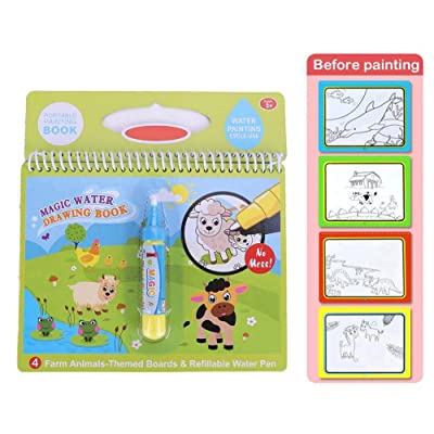 Magic Water Drawing Book, Reusable Water Coloring Drawing Book with Pen Painting Board for Kids Painting Educational Toy Gift (Farm) : Baby