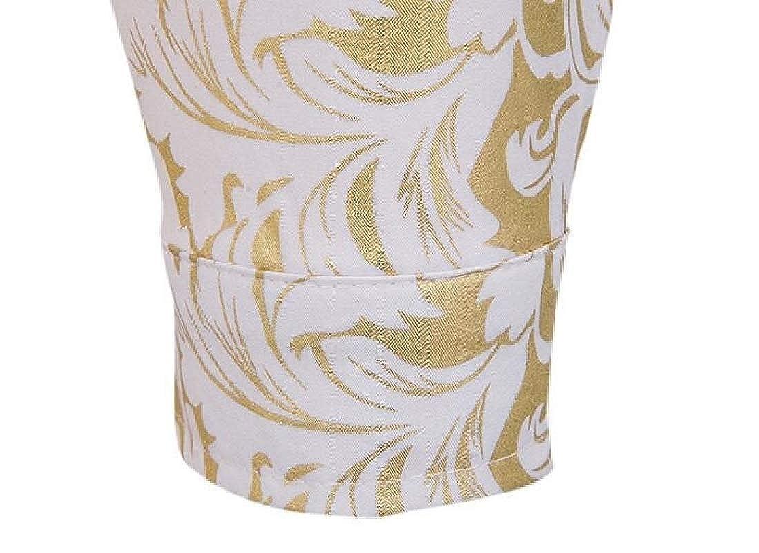 Britainlotus Men Hipster Gold Rose Printed Long Sleeve Dress Shirts Performing Shirts