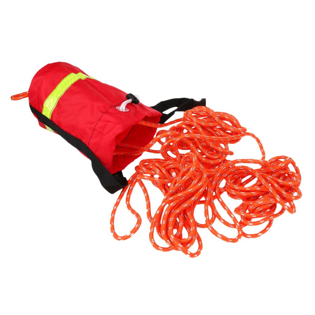 MagiDeal Buoyant Throw Rope Bag Reflective Rescue Line for Canoe Kayak 16m or 21mx8mm - Red, 52ft by Unknown