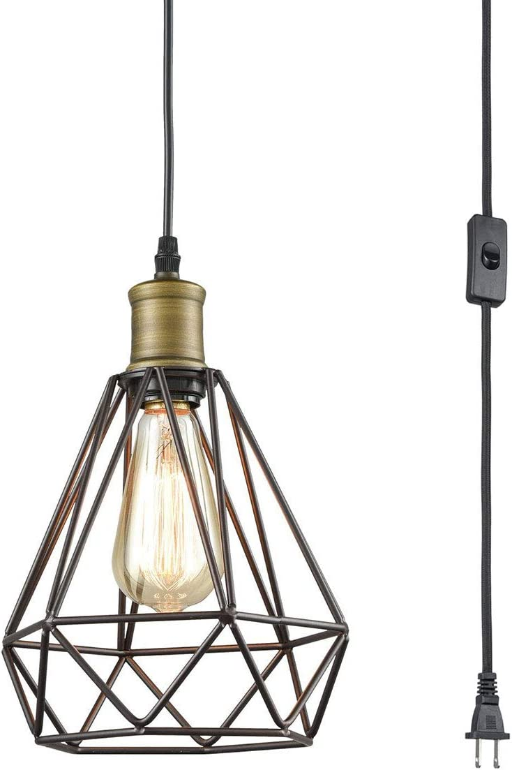 Farmhouse Plug in Pendant Light with On Off Switch Wire Caged Hanging Pendant Lamp