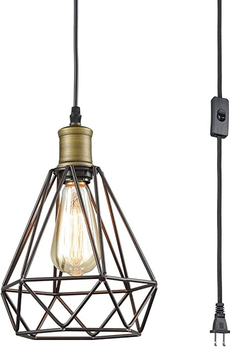 Amazon Com Farmhouse Plug In Pendant Light With On Off Switch Wire Caged Hanging Pendant Lamp 16ft Home Improvement