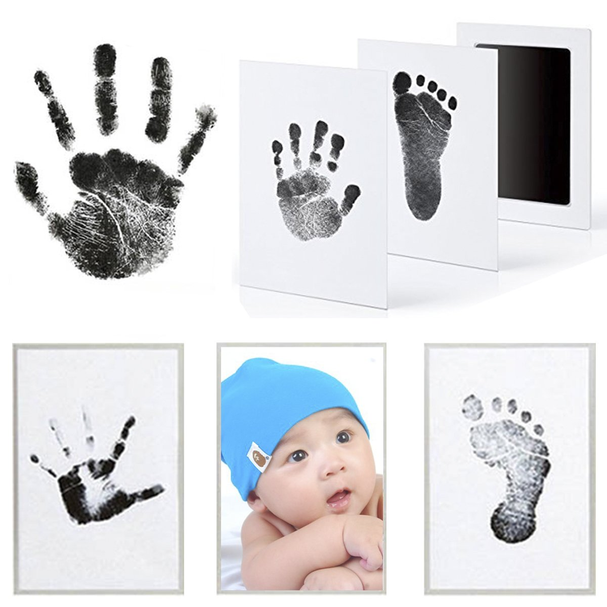 Mcree 3 Pcs Baby Ink Pad for Baby Footprints Hand Prints and Fingerprints Kit with 3 Extra Large Ink Pads and 6 Imprint Cards Perfect Keep Baby Memory Baby Shower Gift (Black) by Mcree