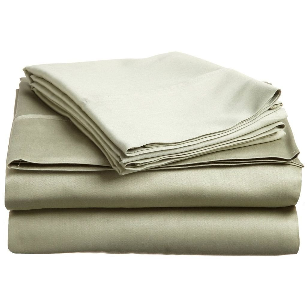 600 Thread Count - Genuine Extra Long Staple (ELS) Premium Combed Cotton Bed Sheet Set [Top / Flat + Deep Pocket Bottom / Fitted + Pillow cases] , Twin Extra Long [ XL ] , Solid Sage
