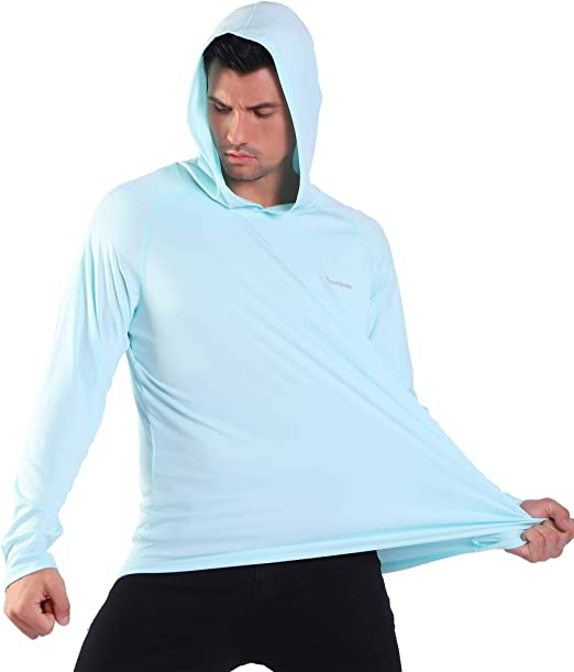Long Sleeves Shirt Mens UPF 50 Dry Fit Sun Protection Outdoor Workout Swim Hoodies Running Hiking Fishing
