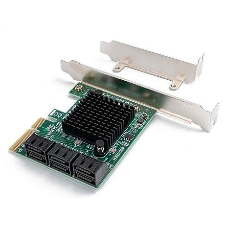 QNINE Tarjeta SATA PCIe de 6 puertos, PCI Express a la ...