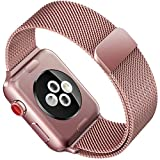 For Apple Watch Band ,38mm Smooth Stainless Steel Strap Freely Fully Magnetic Closure Clasp Metal Strap Wrist Band Replacement Bracelet for IWatch Band Series 3 Series 2 Series 1 (Rose gold)