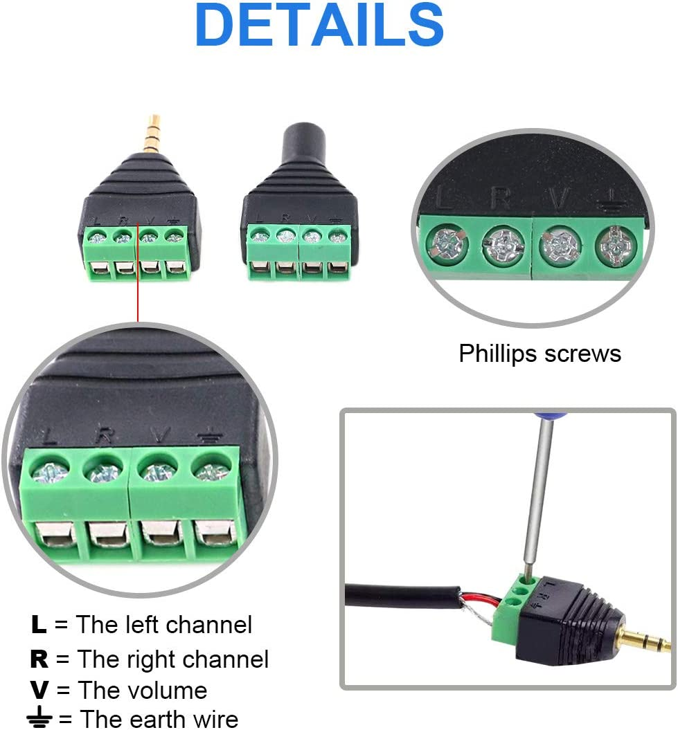 Glarks 8Pcs 3.5mm Stereo TRRS Audio Balanced Male /& Female Jack to AV 4-Screw Terminal Block Balun Converter Adapter Connectors 1//8inch